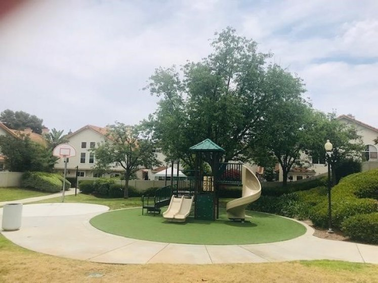 Playground, basketball court, green areas.