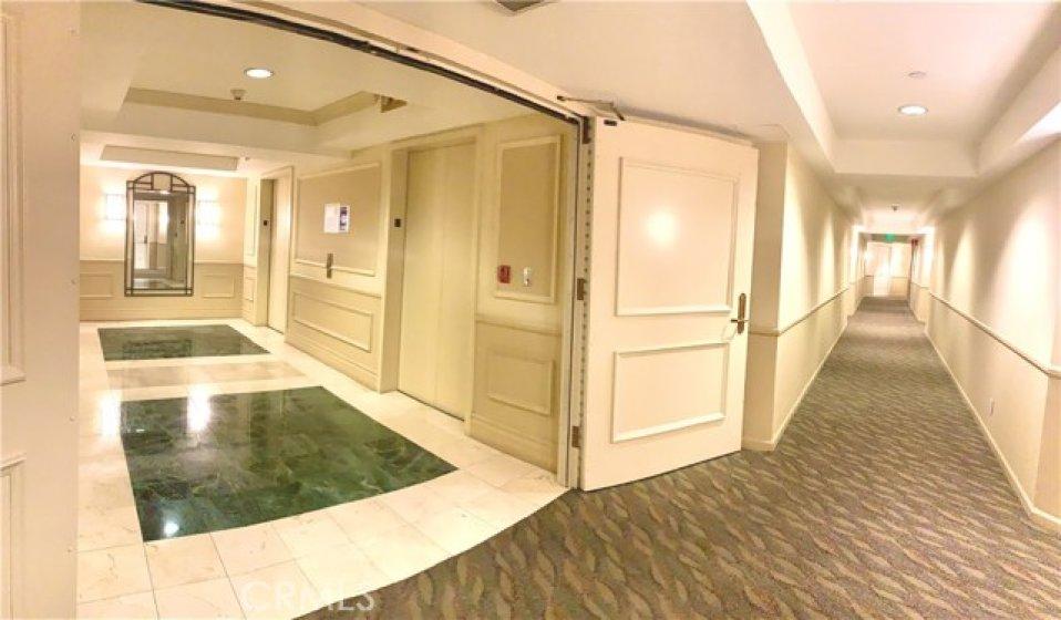 elevator lobby and hallways