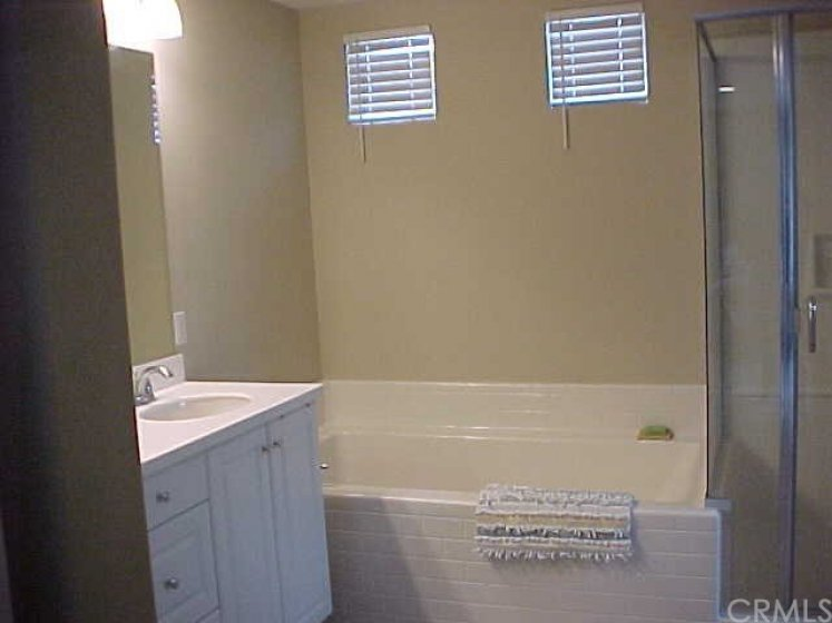 Master Bathroom with Separate Tub and Glass Shower Enclosure