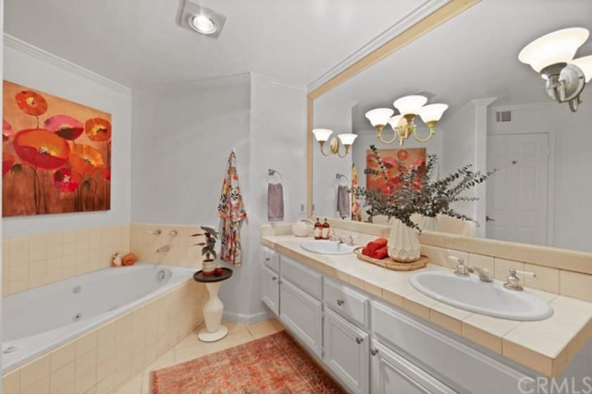 full master bath with separate shower and tub