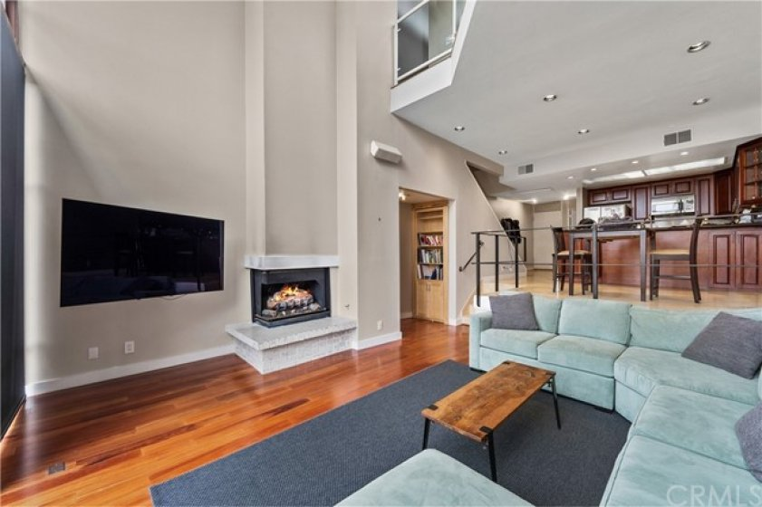 Living room with two story ceilings