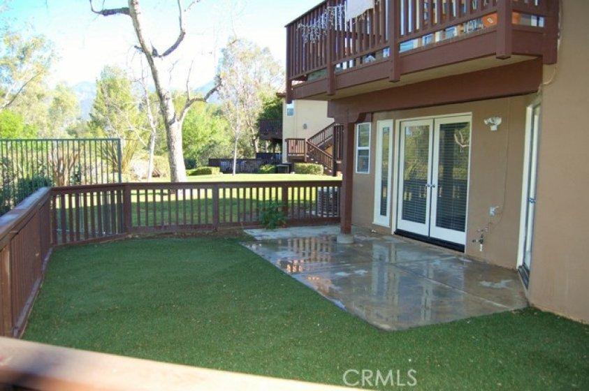 Backyard and patio area.