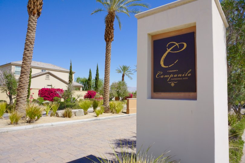The Entry marquee to Campanile in Cathedral City
