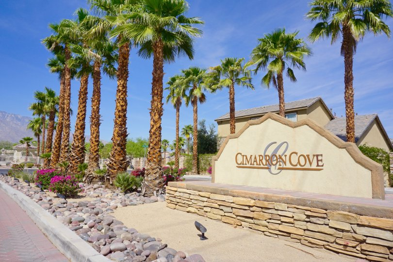 The Cimarron Cove Marquee sits on the median at the community entry