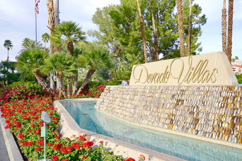 The sign at the entrance of the Dorado Villas neighborhood of Indian Wells