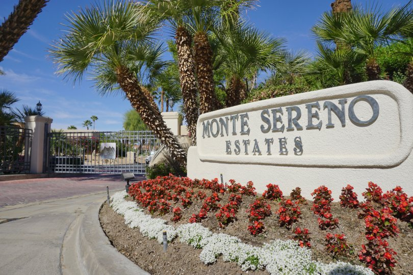 The sign at the guarded entrance of the Monte Sereno Estates neighborhood of Indian Wells