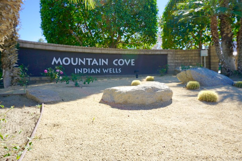 The sign at the entrance of the Mountain Cove neighborhood of Indian Wells