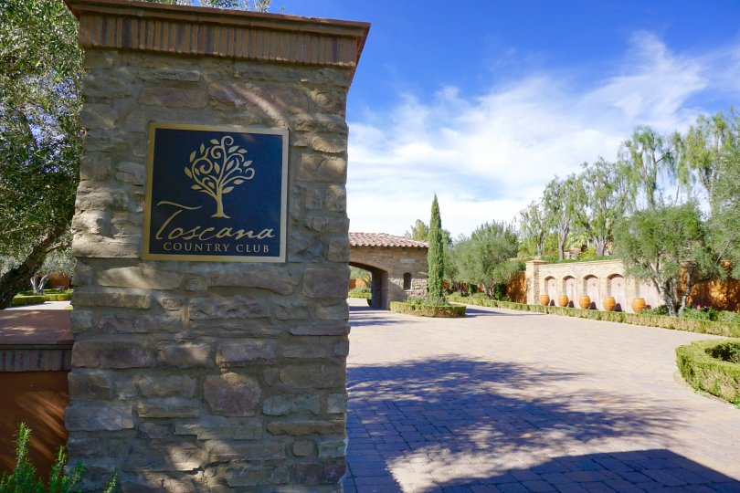 The sign at the entrance of the Toscana Country Club neighborhood of Indian Wells