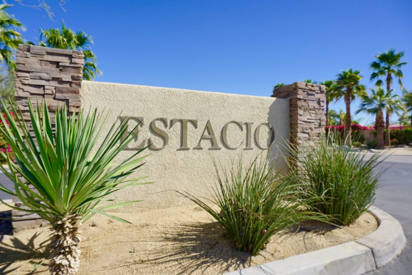 The sign for the entrance of Estacio in Indio Ca