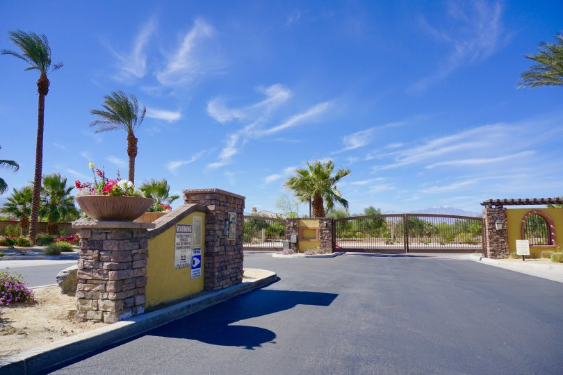 The entrance to the private gated community known as Ponderosa Villas