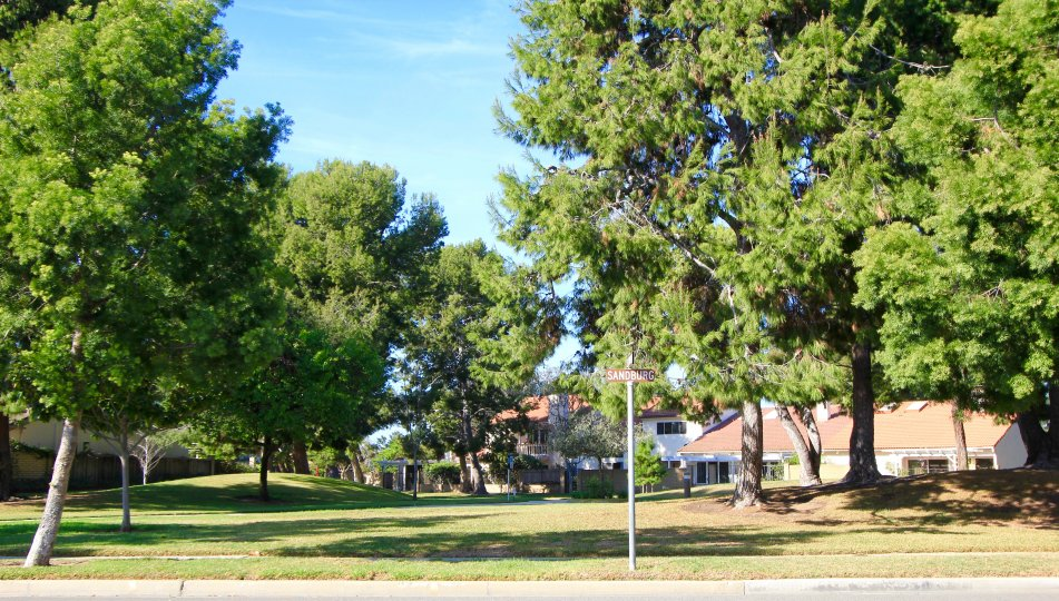 A walking path that winds its way through the Irvine neighborhood of University Park
