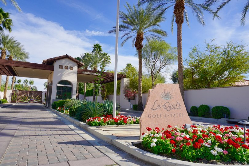 Guard gated entry to La Quinta Country Club Golf Estates