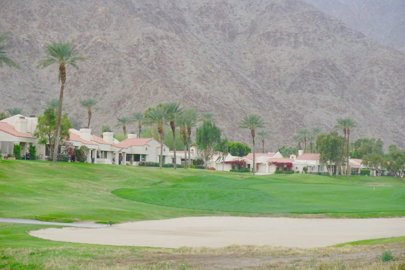 A bunker on the golf course at Santa Rosa Cove in La Quinta