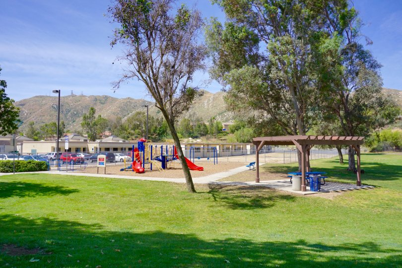 Hidden Springs offers a grassy park and playground near a school