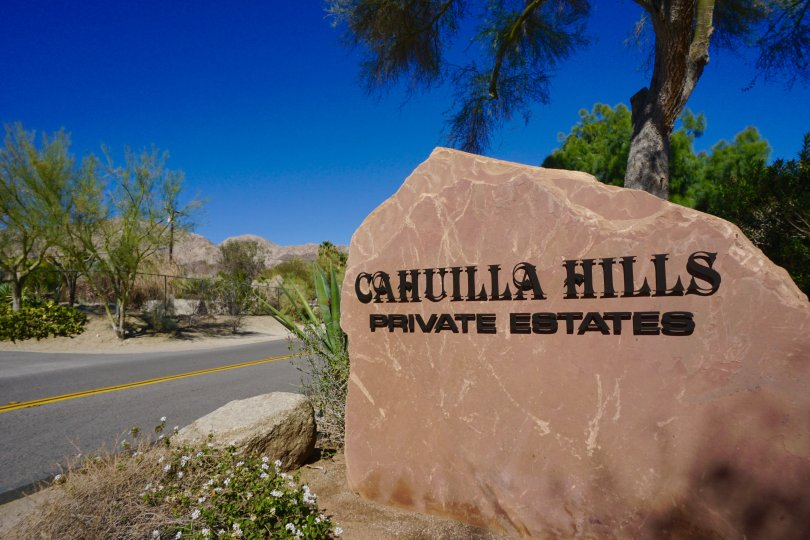 The Cahuilla Hills marquee is on a large rock