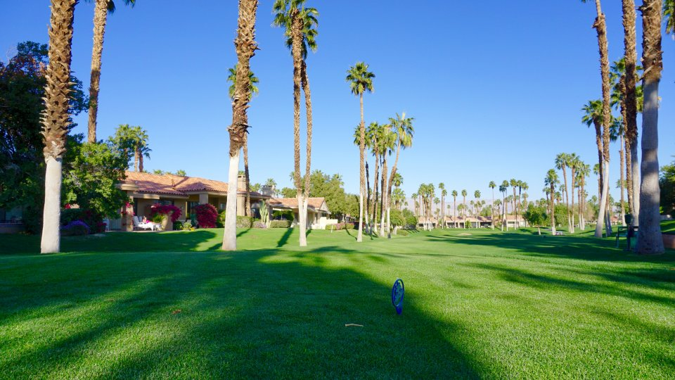 Line up your shot through this narrow fairway at Palm Desert Resort Country Club