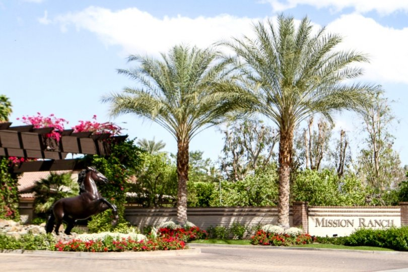 The entrance to the Mission Ranch community of Rancho Mirage