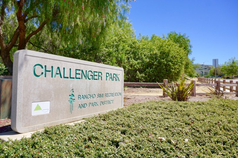 Challenger Park Sign in Bridle Path Neighborhood