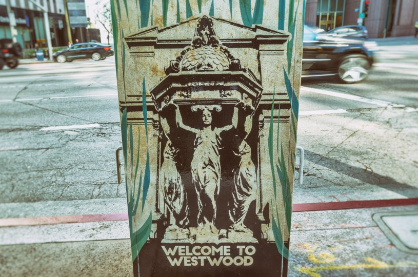 A mailbox in Westwood that has been painted by a local street artist