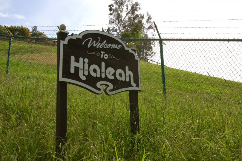 Welcome to Hialeah road sign in Bonsall California