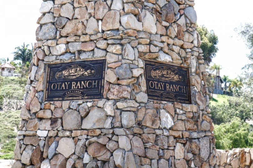 The stone pillar of the Heritage at Otay Ranch Marquee