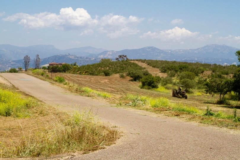 view of the Farm land with mountain range back drop in Crest Neighborhood in El Cajon California