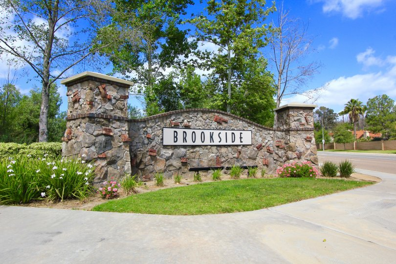 This Brookside Gated community sign in Escondido California