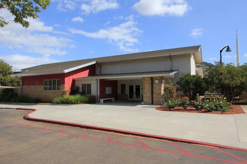 This is Rancho San Pasqual Community building, home to management and community service offices.