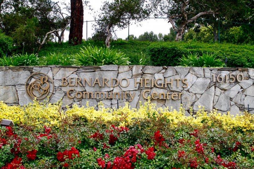 Bernardo Heights Community center sign in Rancho Bernardo California