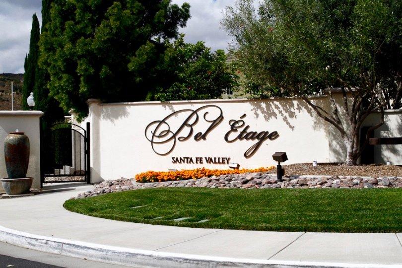 Bel Etage Santa Fe Valley Sign in Rancho Bernardo California