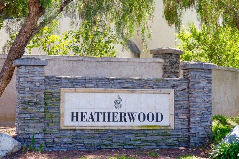 Heatherwood Community Sign in San Diego California
