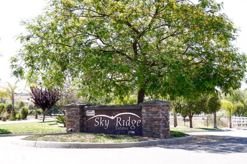 Community marquee for Sky Ridge Estates in Valley Center
