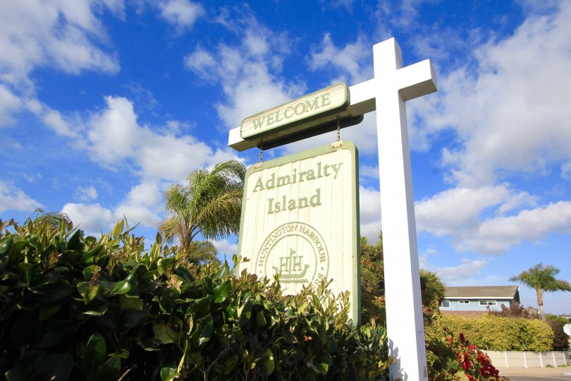 The community of Admiralty Island Marquee on a wooden post