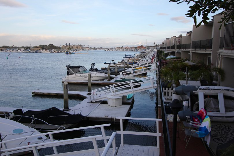 Huntington Marina homes have private terraces that lead to boat docks
