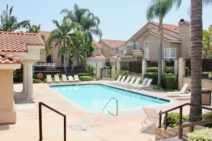 Apartment with swimming pool in Corona CA. Sunny day with palm trees.