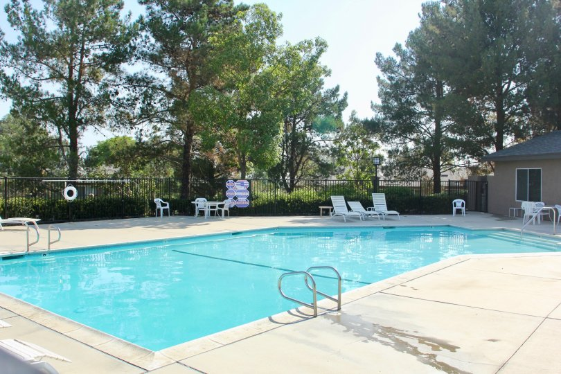 A bright day swimming pool with all recreational amenities nearby