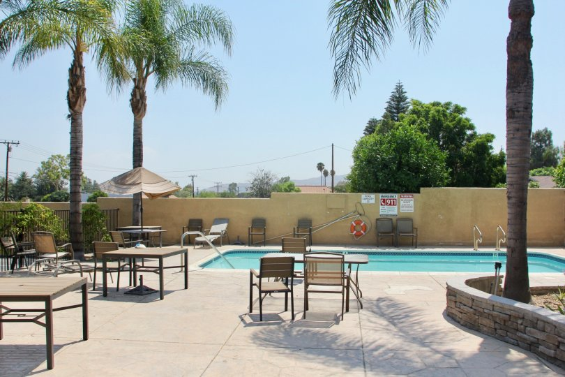 A sunny relaxing day at the Gianni Villas pool in corona California