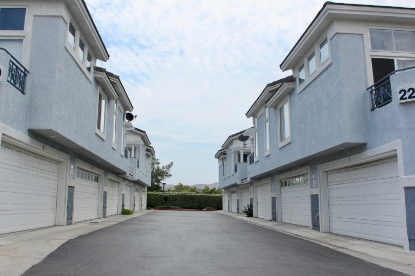 A gray driveway sits between two large apartment complexes inside Laing's first edition.