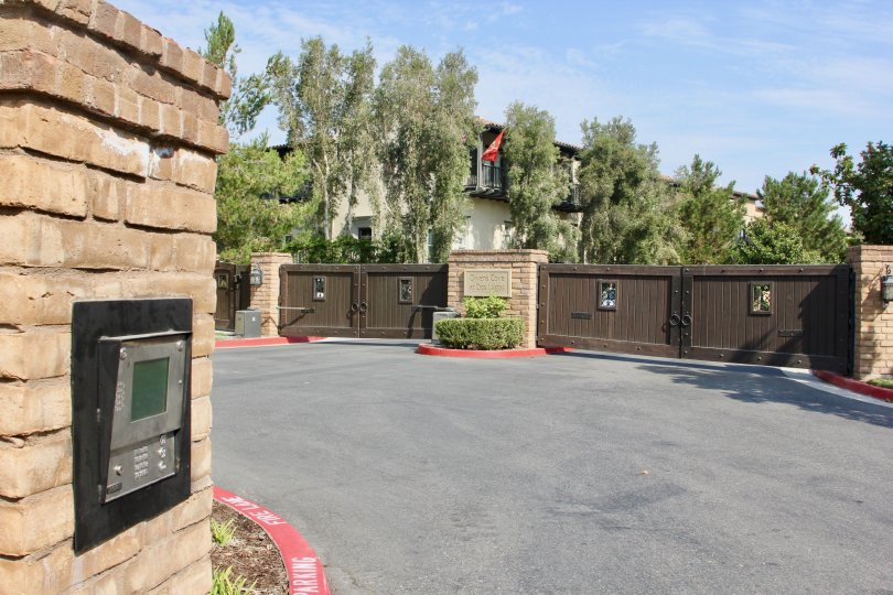 Beautiful brown gates of a Market Street Apartment, Corona, California