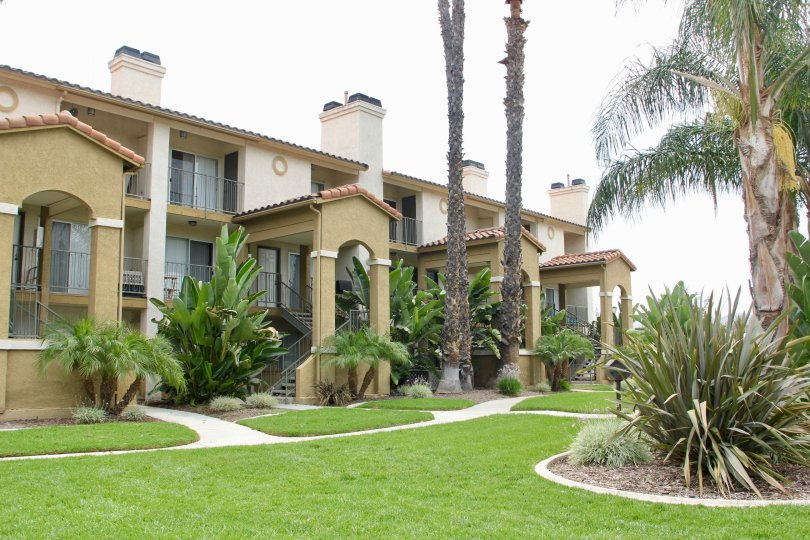 Sienna community homes with green lawn and palm trees in Corona CA