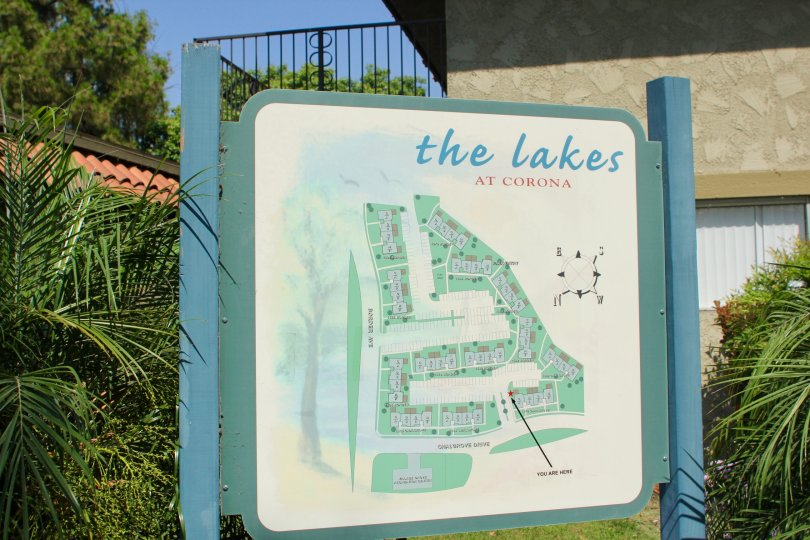 Close up view of the sign with map of The Lakes at Corona community in Corona, CA.