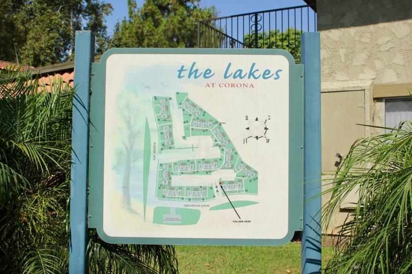 Up close sign of The Lakes at Corona in Corona, CA.
