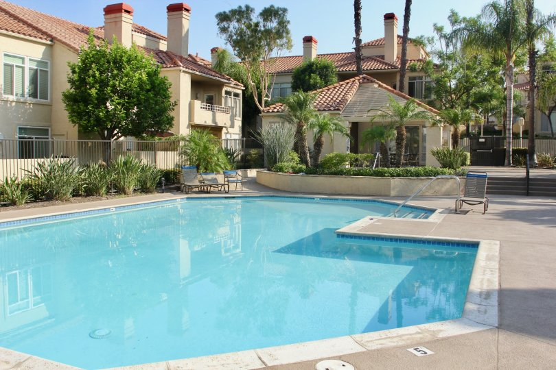 The Terraces at Sierra Del Oro offer a lovely pool and lush vegetation as you relax in the Corona, California sun.