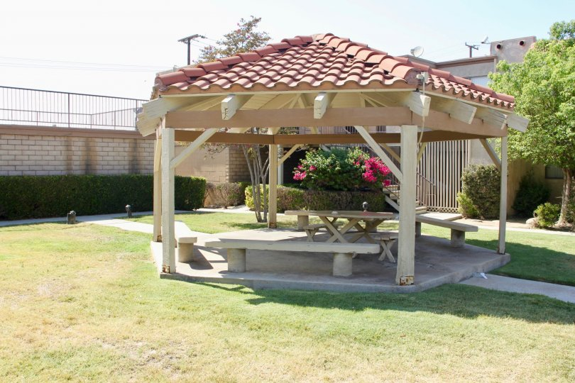 Octogan gazebo with benches at Acacia Gardens in Hemet, California