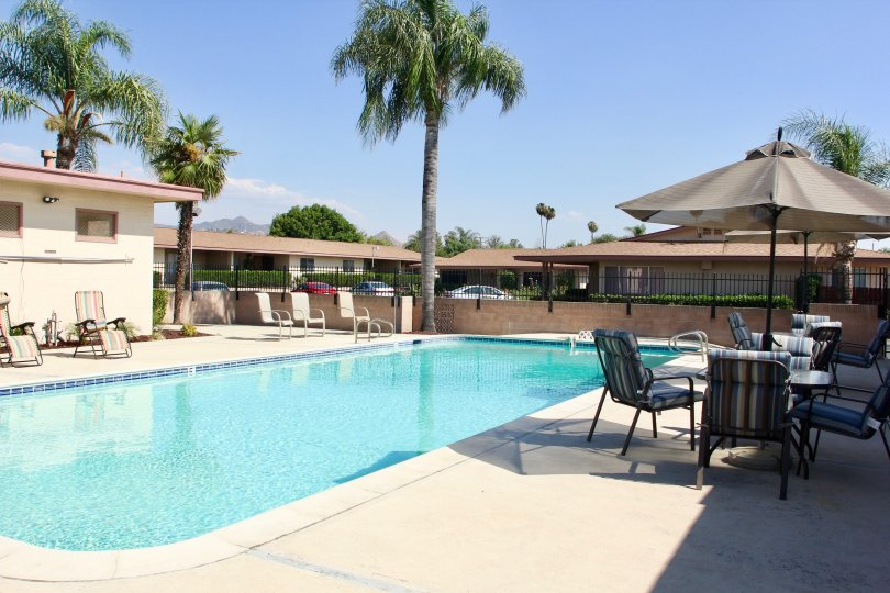 A swimming pool available to the residents of Rosewood Villas, hemet, California