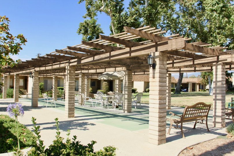 A sunny day at an outdoor patio deck in the Sunrise Village community