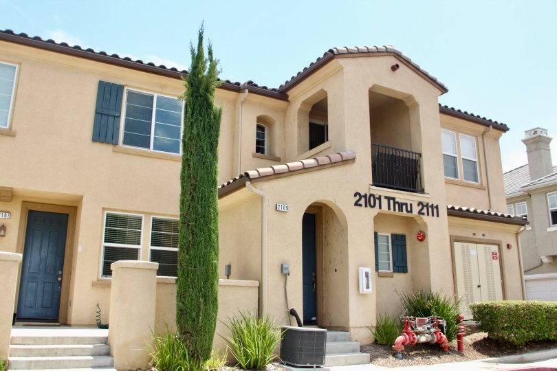 Entrace to addresses 2101 thru 2111 at Belcaro community in Lake Elsinore, California