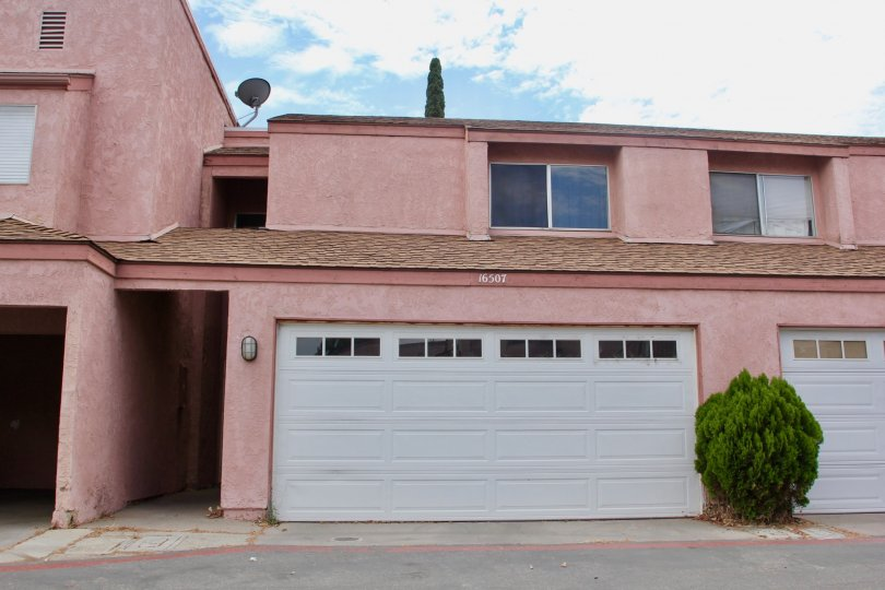 Pink building with large garage and one tree that looks alright but out of place