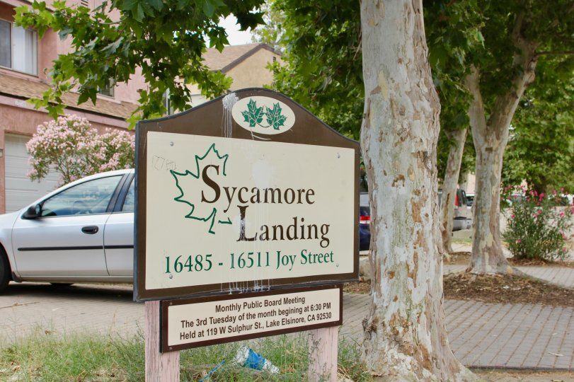 Public advertising sign for Sycamore Landing in lake elsinore California