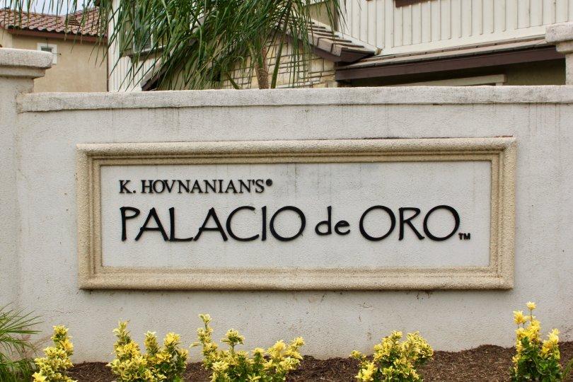 View of Sign at Palacio De Oro North in Moreno Valley, CA